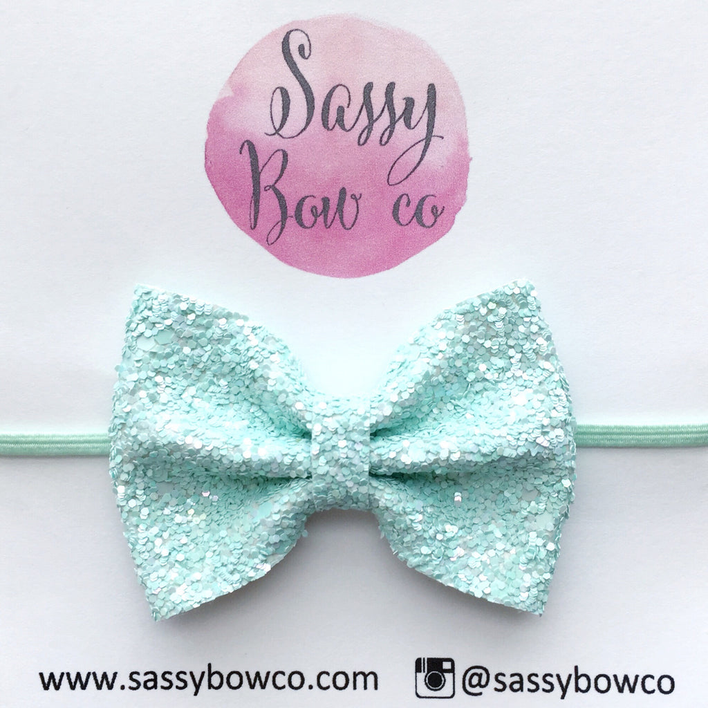 Small Soft Mint Glitter Bow