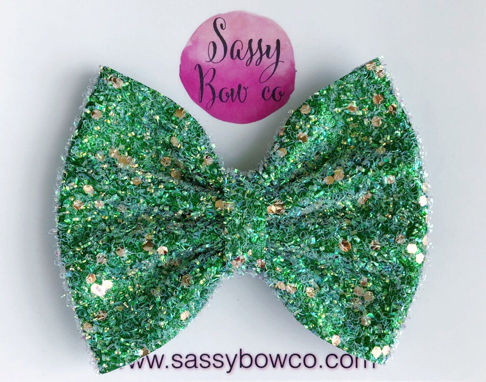 Large St. Patricks Day Glitter Bow