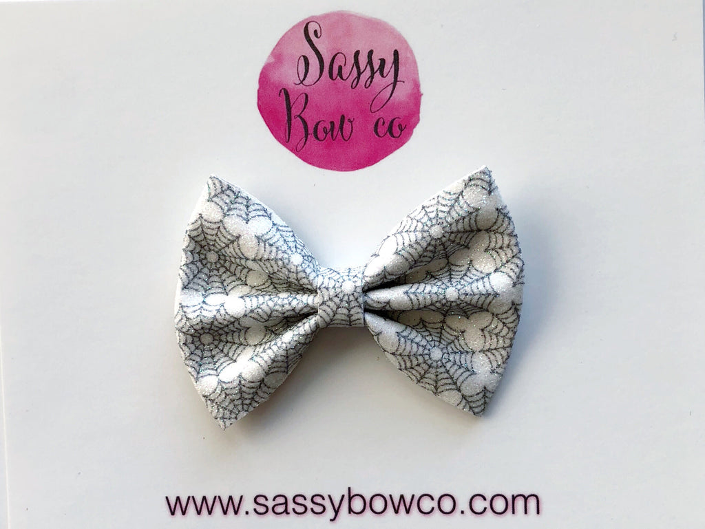 Small Spiderweb Glitter Bow