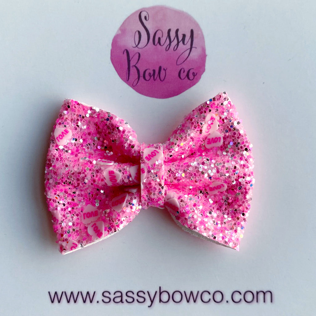 Pink LOVE Small Glitter Bow