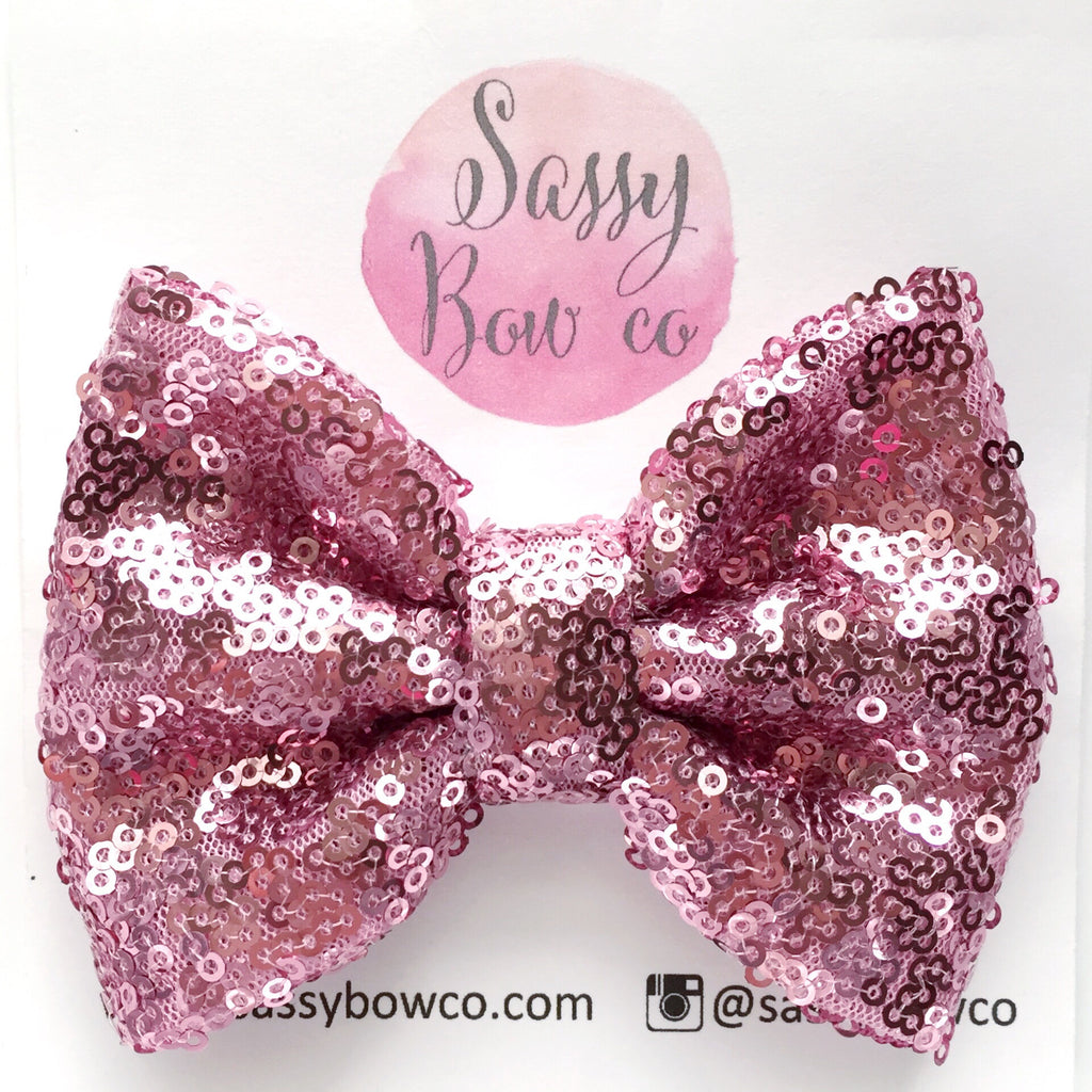 Bubblegum Pink Sequin Bow