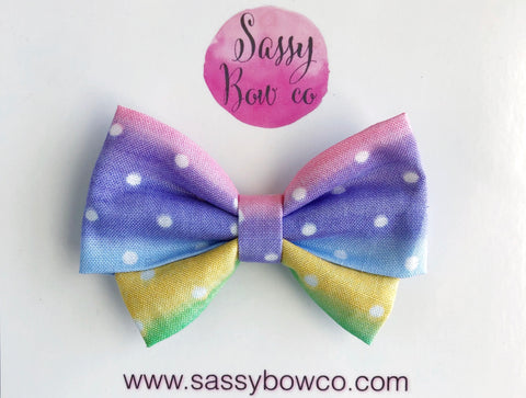 Rainbow Dots Madi Cotton Bow