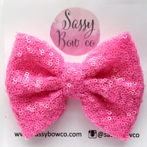 Neon Pink Sequin Bow