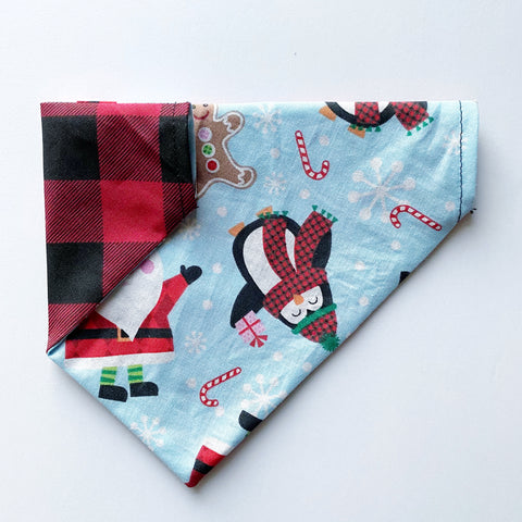 Santa / Buffalo Plaid Reversible Dog Bandana