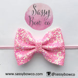 Small Pink Pixie Glitter Bow
