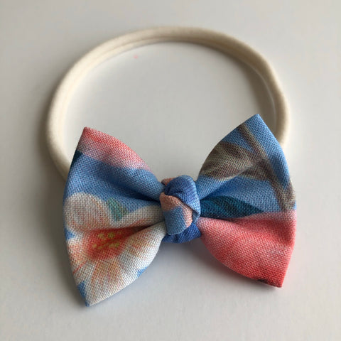 "Baby Blue Floral 2"" Chloe bow"