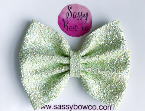 Large Lemongrass Glitter Bow