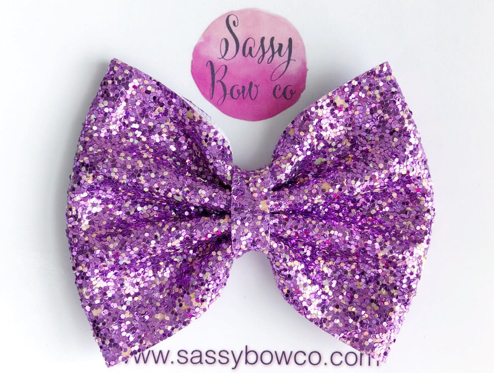 Large Mulberry Glitter Bow