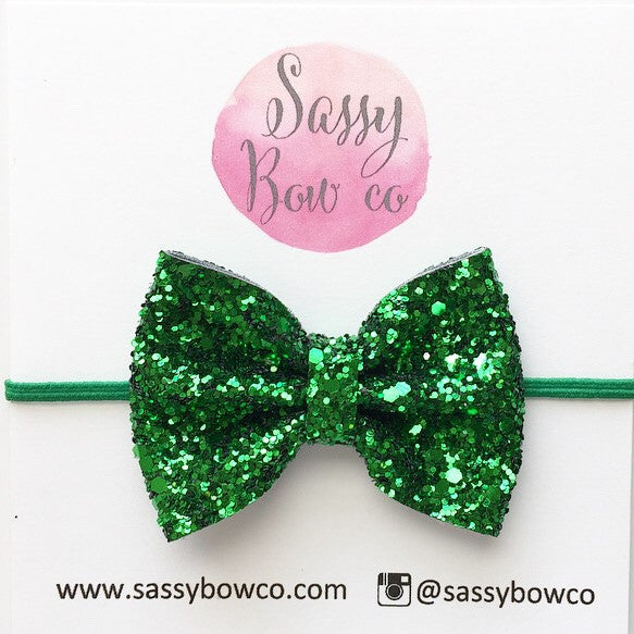 Small Green Glitter Bow