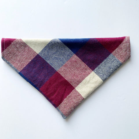 Maroon Plaid Dog Bandana