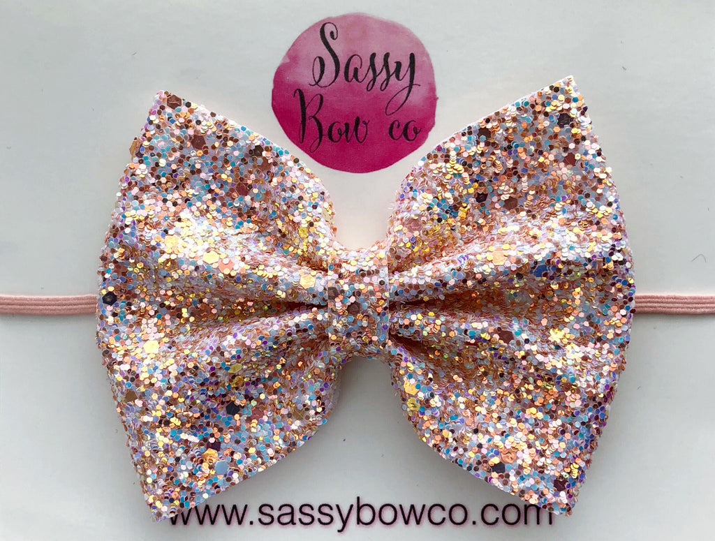 Large Opal Glitter Bow