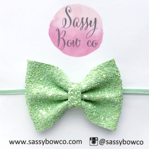 Apple Green Glitter Bow