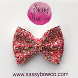 Small Red Tinsel Glitter Bow