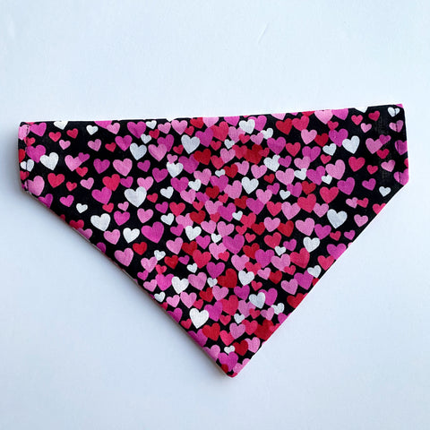 Black Heart Reversible Dog Bandana