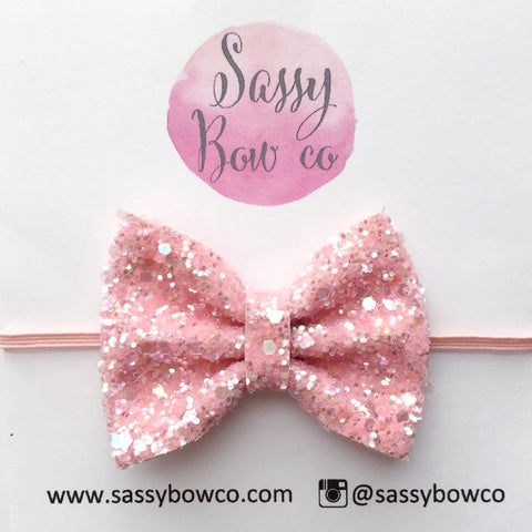Small Apricot Glitter Bow