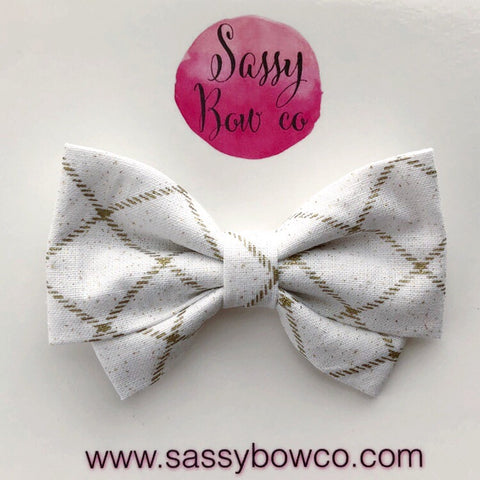 Gold Glam Diamond Checkers Madi Cotton Bow