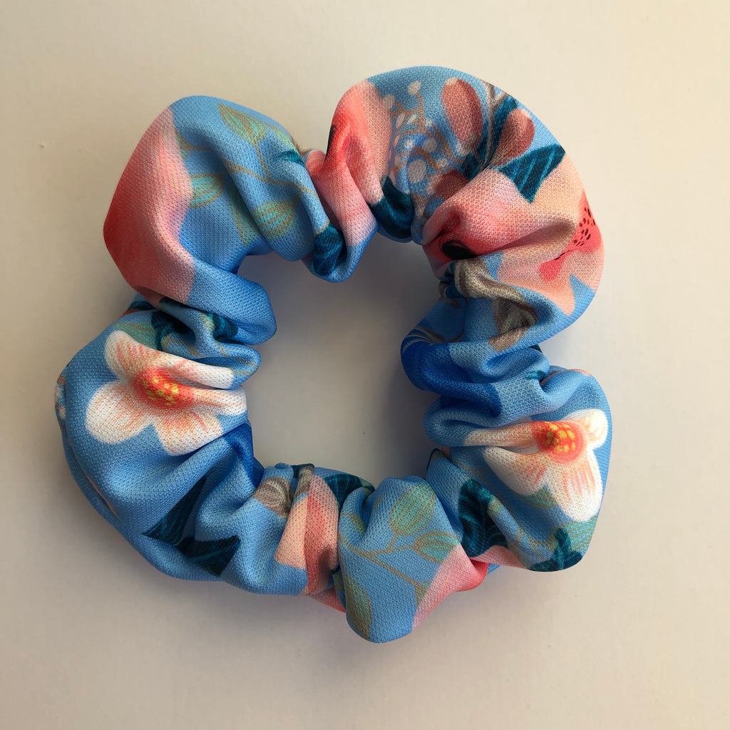 Baby Blue Floral Scrunchie