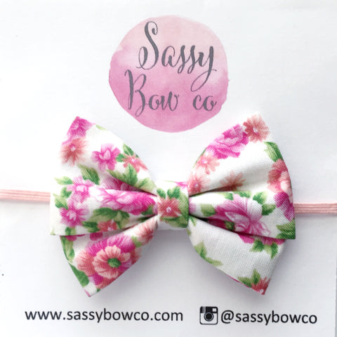 pink Vintage Floral Madi Cotton Bow