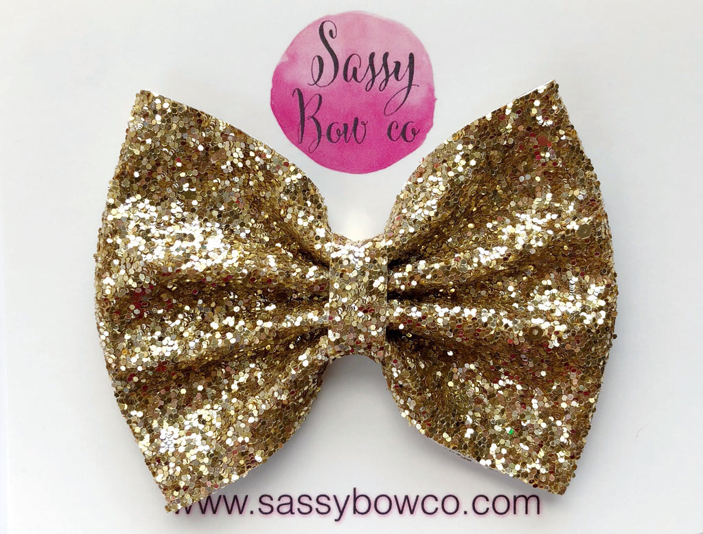 Large Gold Glitter Bow