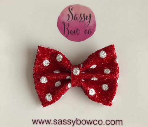 Red Minnie Dot Small Glitter Bow