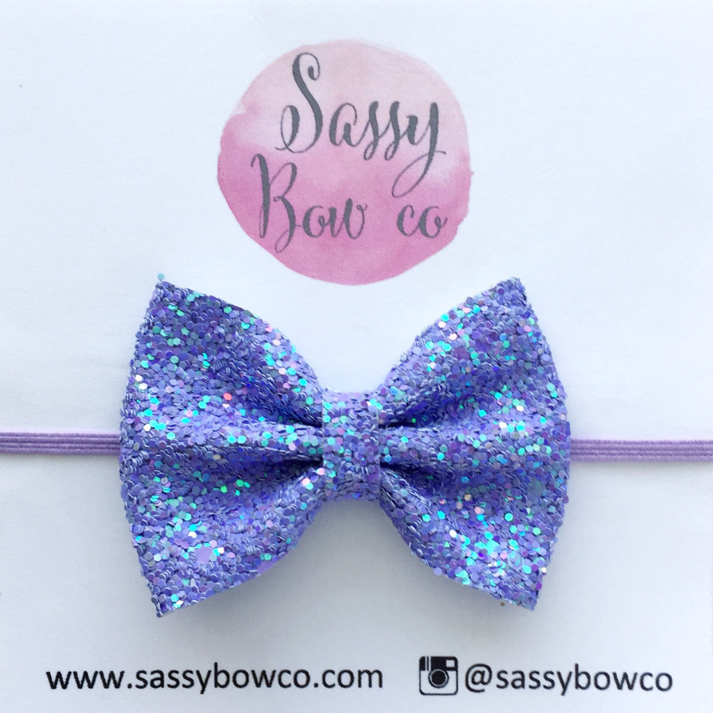 Small Violet Glitter Bow