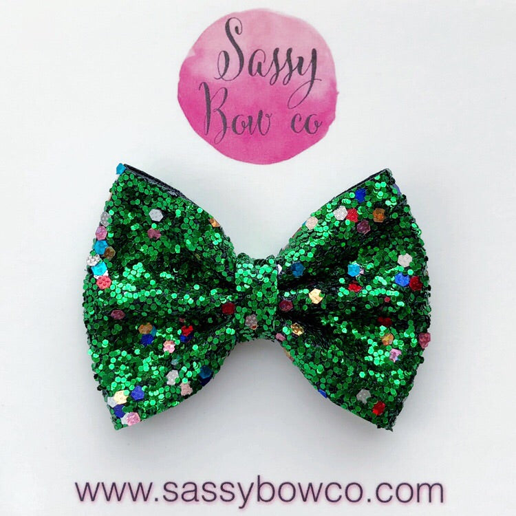 Small Christmas Tree Glitter Bow