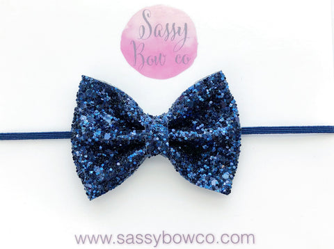 Small Navy Blue Glitter Bow