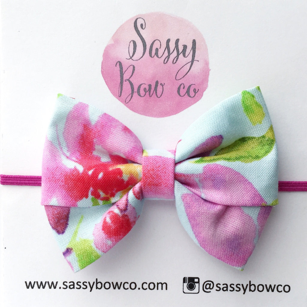 Watercolor Floral Madi Cotton Bow