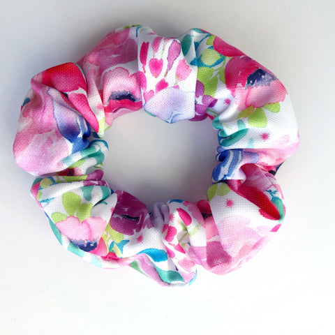 Neon Watercolor Floral Scrunchie