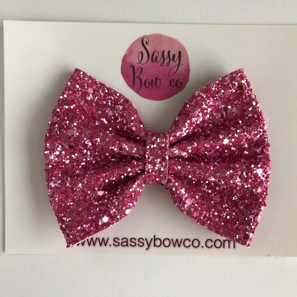 Bubblegum Pink Large Glitter Bow