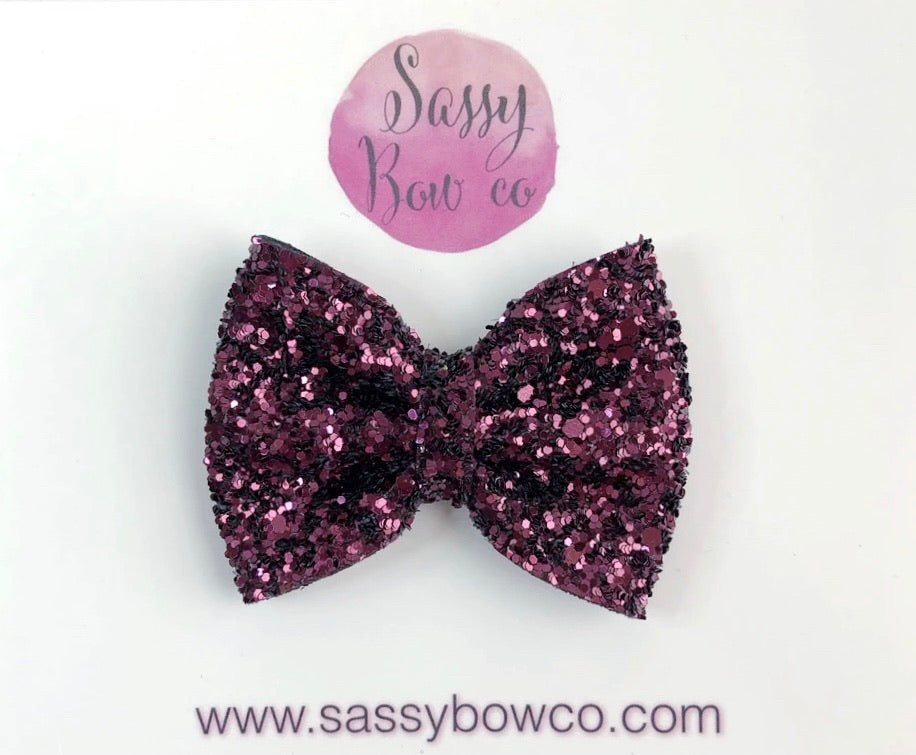 Small Cranberry Glitter Bow