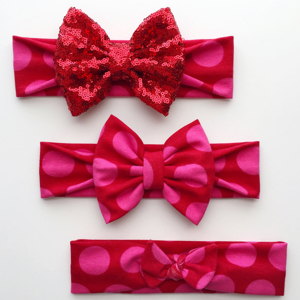 Red & Pink Dots Headbands