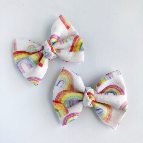 "Watercolor Rainbows 2"" pigtail set"