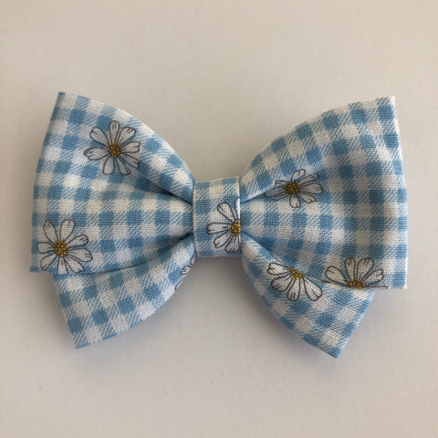 Gingham Daisy Madi Cotton Bow