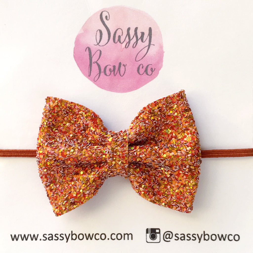 Small Pumpkin Spice Glitter Bow