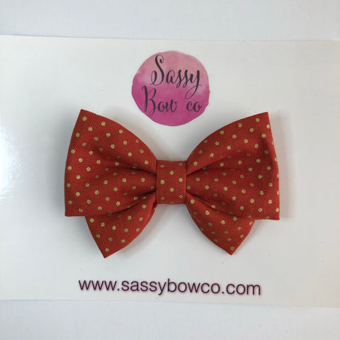 Burnt Orange Gold Dot Madi Cotton Bow