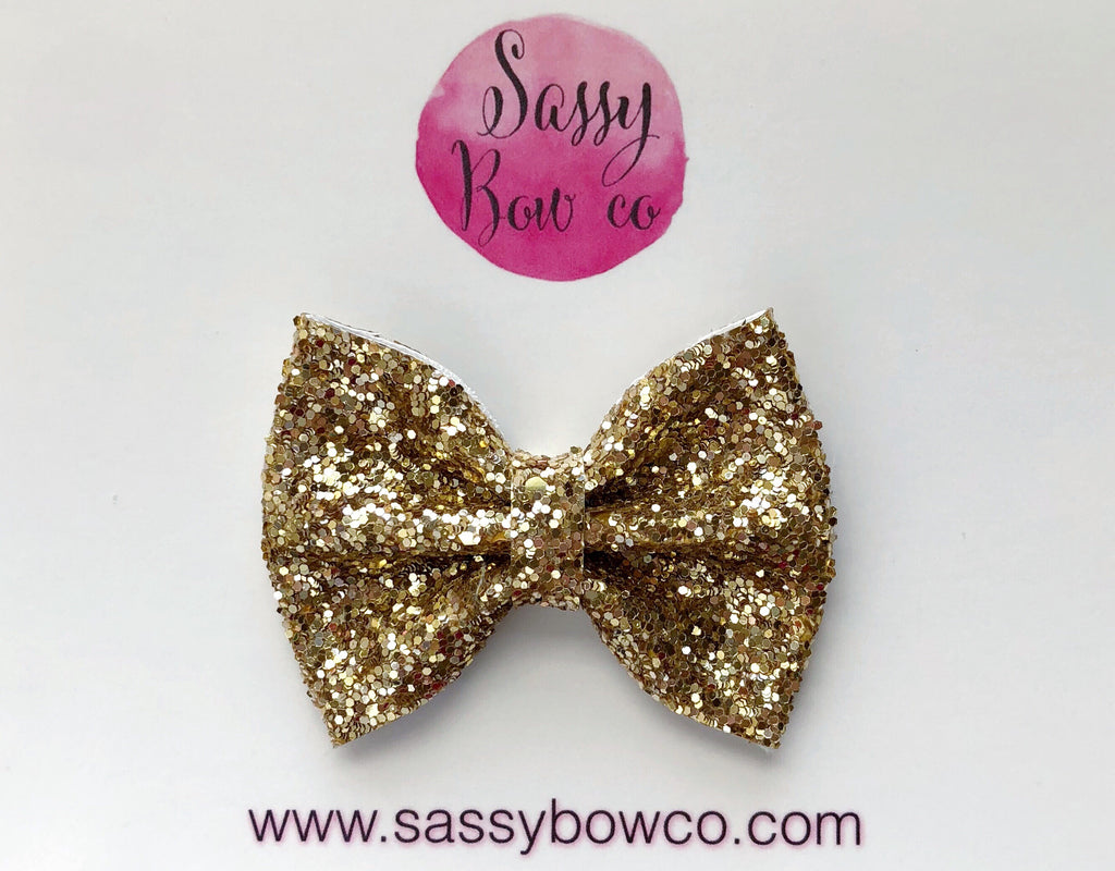 Small Gold Glitter Bow