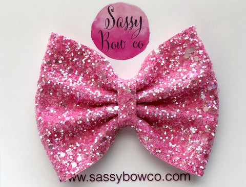Large Strawberry Sorbet Glitter Bow