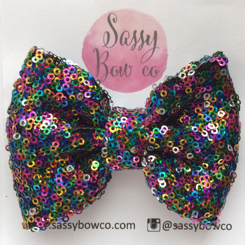 Rainbow Sequin Bow