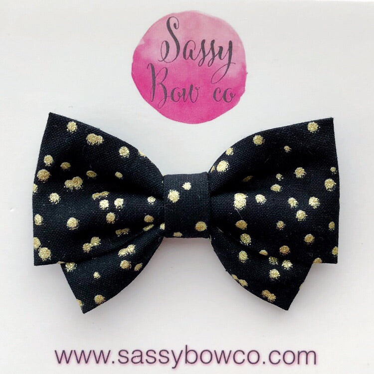 Black and Gold Glam Dot Madi Cotton Bow