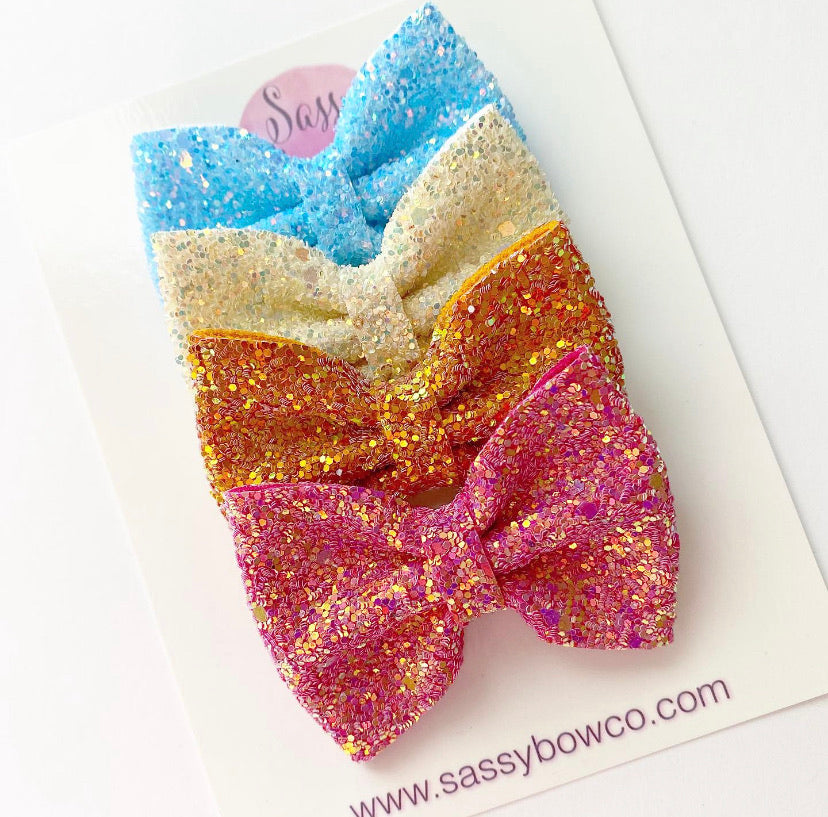 Sunset small glitter Bow Bundle