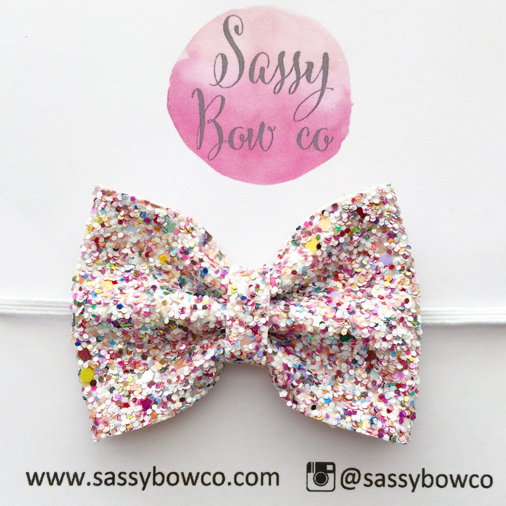 Small Birthday Cake Glitter Bow Sassy Bow Co