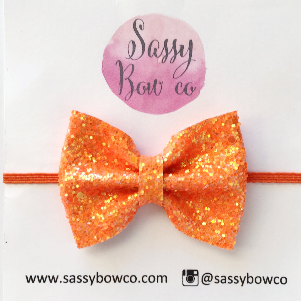 Small Neon Orange Glitter Bow