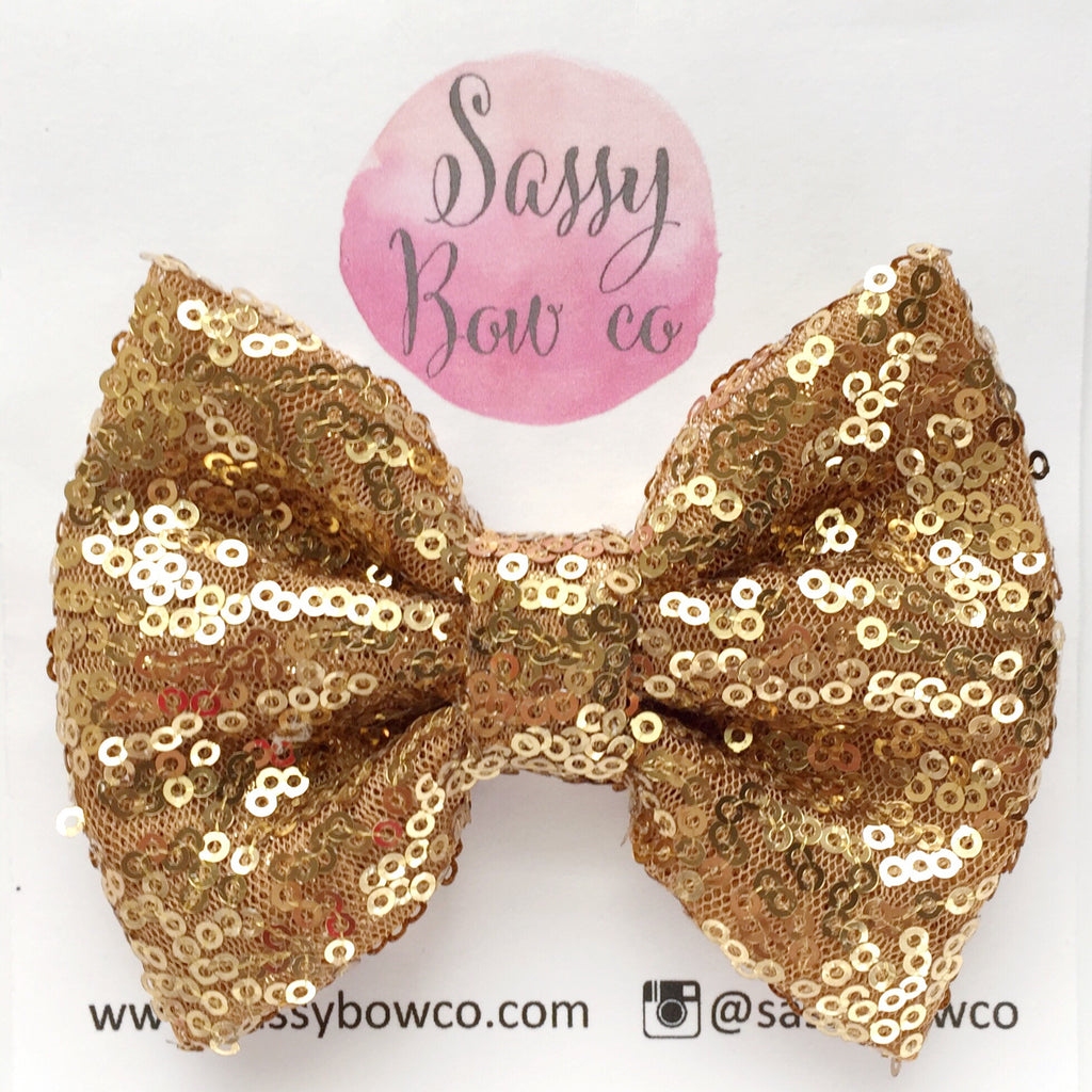 Bronze Gold Sequin Bow