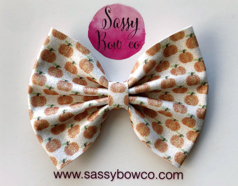 Large Pumpkin Glitter Bow