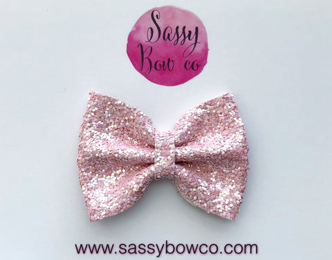 Small Blush Glitter Bow