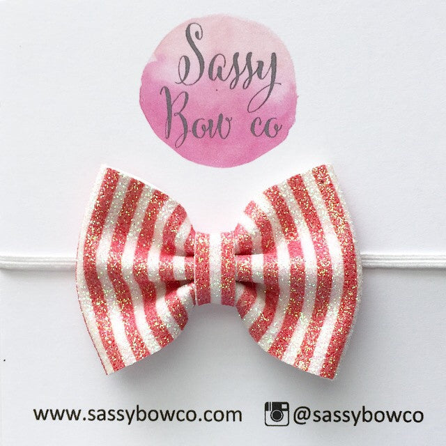 Small Red Stripe Glitter Bow