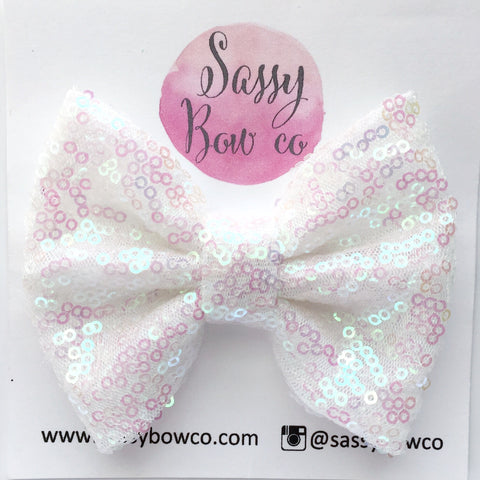 Fairy Dust White Sequin Bow