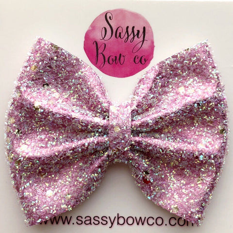 Large Pink Tinsel Glitter Bow