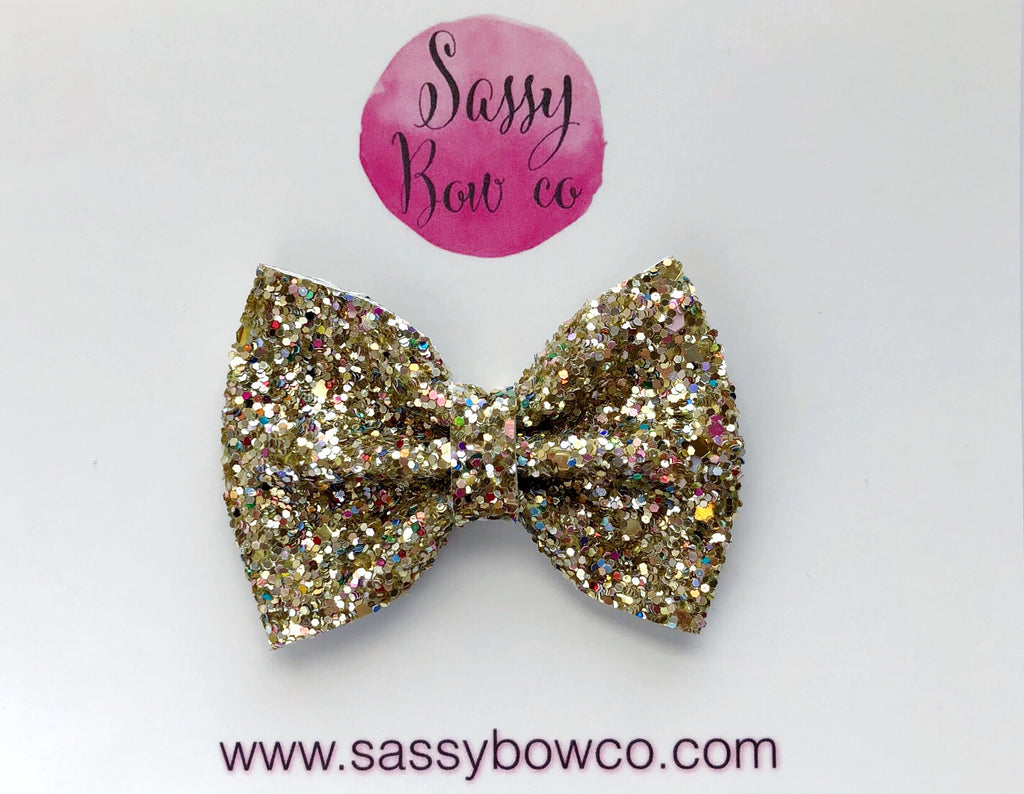 Small Gold Mine Glitter Bow